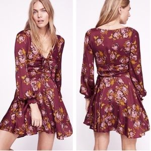 Free People Morning Light Mini Dress Purple Combo